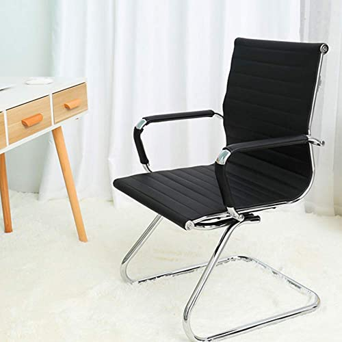 DM Furniture Reception Chairs Leather Conference Chair Heavy Duty Back Support Office Guest Chair, Set of 2 Black