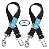 Dog Seat Belt Pet Dog Cat Car Seat Belt Safety - 2 Pack - Adjustable Safety Belt Pet Leash - Heavy Duty Nylon - Universal Fit