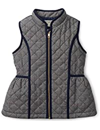Baby Girls' Navy Quilted Glen Plaid Vest