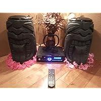 Tongue Tiki Speaker Pair & Bluetooth Amplifier (Black Granite)