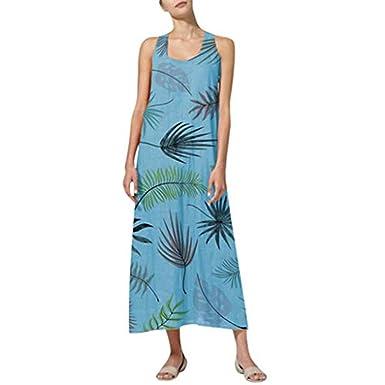 Sharemen Womens Sleeveless Printed Linen Dress Summer Loose ...