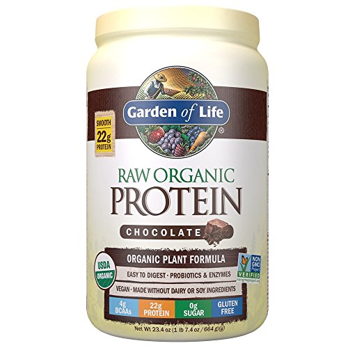 Garden of Life Organic Vegan Protein Powder with Vitamins and Probiotics – Raw Organic Plant Based Protein Shake, Chocolate, 23.4oz (1 lb 7.4 oz/664g) Powder 514bZlvEhPL