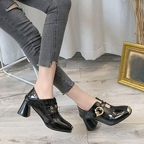 Solide Bottine Dames Femme Boucle Talon Haut Bottes En Noir Rugueux Métal Escarpin Carré D'hiver Mode De Pour Chaussures Slip Honestyi on Travail XYT5xwqO5