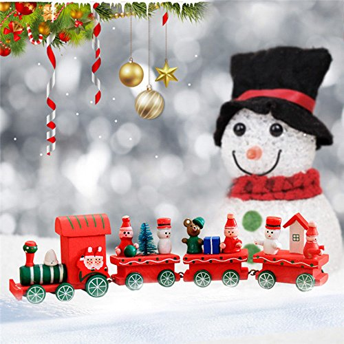 S&M TREADE Christmas Wooden Train Santa Claus Xmas Festival Ornament Home Decor Kids Gifts Color Random