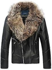 Ouye Men's Winter Fur Collar Faux Leather Short Ja