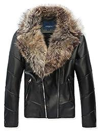 Ouye Men's Winter Fur Collar Faux Leather Short Jacket