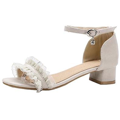 TAOFFEN Damen Sandalen Sommer Sandaletten mit Absatz