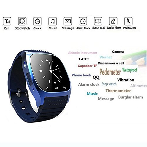 Smart Bluetooth Watch Smartwatch M26S for Android IOS Phone - Blue - 1