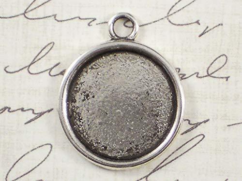 (Pendant Jewelry Making 6 Round Bezel Trays Pendants Settings 18mm Mounting Antique Silver Tone)
