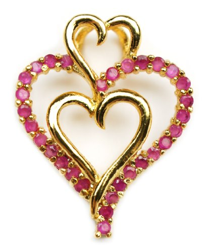 Heart Vermeil Gold Layered Red Ruby Crystal Pendant Slide with Chain Necklace