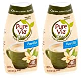 Pure Via Stevia Sweetener Vanilla Simple Squeeze Coffee Sweetener Zero Calorie Sweetener, 1.62 fl oz (Pack of 2)