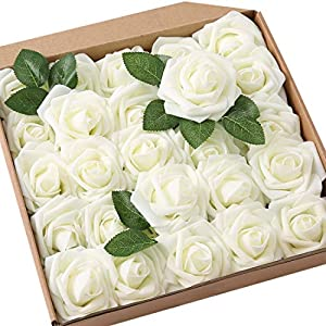 JaosWish 25PCS Real Touch Artificial Roses Fake Flowers with Stem DIY for Wedding Bouquets Baby Shower Party Home Decorations 95