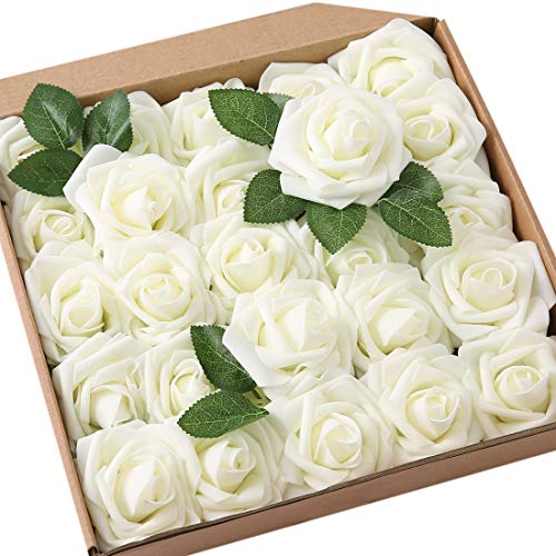 JaosWish 25PCS Real Touch Artificial Roses Fake Flowers with Stem DIY for Wedding Bouquets Baby Shower Party Home Decorations ()