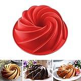 SveBake Silicone Cake Bundt Pan - Non-Stick Silicone Cake Mold Pan 9.8 inch for Baking Bundt Cake Bread,Red