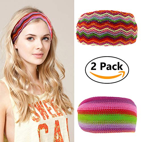 LOOKARAS Handmade Headbands for Women Criss Cross Elastic Hairband Knitted Multi-Style Yoga Sports or Fashion Hair Band 70s 80s (Knitting)