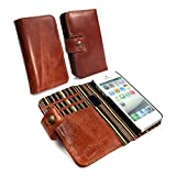 Alston Craig Genuine Vintage Magnetic Leather Wallet RFID Blocking Magnetic Case Cover for iPhone 5 / 5S / SE - Brown