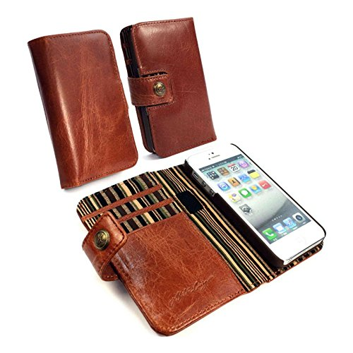 Alston Craig Genuine Vintage Magnetic Leather Wallet RFID Blocking Magnetic Case Cover for iPhone 5 / 5S / SE - Brown by Alston Craig