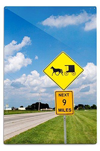 Lantern Press Amish Yield Street Sign (12x18 Aluminum Wall Sign, Wall Decor Ready to Hang)