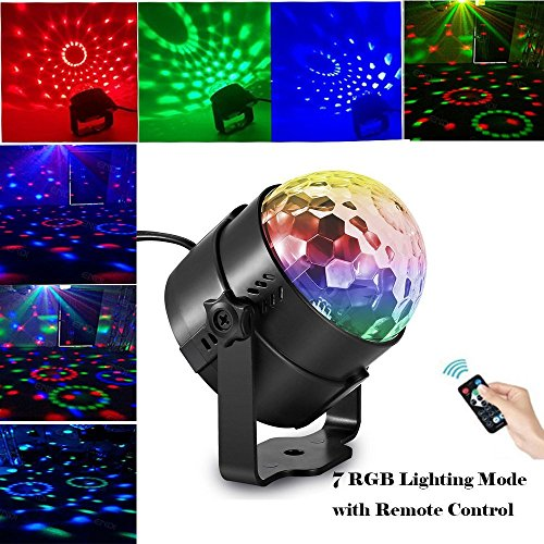 TBAO RGB 3W Stage Lights Crystal Magic Rotating lights Laser spotlights LED Light Led Stage Lights 7 Color Changing For KTV Lighting Xmas Party Wedding Show Club Pub Disco DJ (Colour Led Laser)
