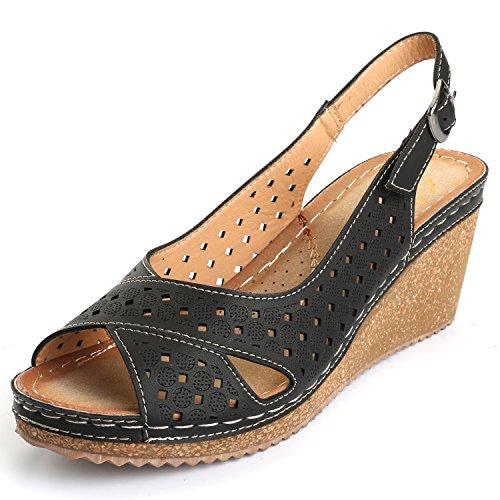Buckle Peep Wedge Toe - Alexis Leroy Adjustable Buckle Peep Toe Vamp Women's Platform Wedge Sandals Black 8-8.5 M US