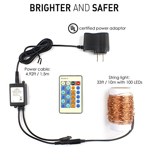 Moobibear 33ft Dimmable 100 LED Copper Wire String Lights, - Import It All