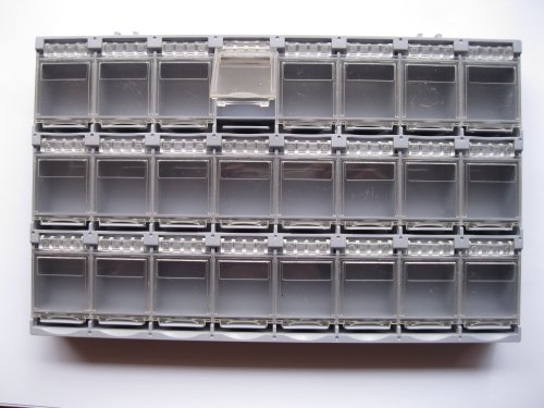 6 Pcs SMD SMT Electronic Component Mini Storage Box 24(38) Lattice/Blocks 213x125x22mm Gray Color T-157 Skywalking by Skywalking
