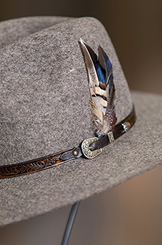 Overland Sheepskin Co. Messenger Bolivian Wool Felt Outback Hat, Brindle MIX, Size 7 3/8 by Overland Sheepskin Co (Image #3)