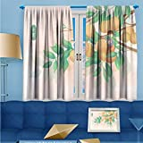 SCOCICI1588 Design Print Rod Pocket top Thermal Insulated Cold solar term illustration Linen Room Darkening Curtains W84'' x L84'' Pair