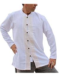 RaanPahMuang Grain Line Light Cotton Chinese Collar Wooden Button Shirt Plus Size