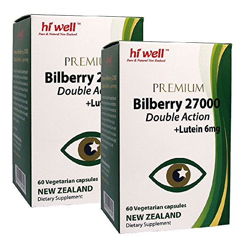 Hi Well Premium Bilberry 27000mg + Lutein 6mg Double Action 60 Vegetarian Capsules (Pack of 2) by Hi Well