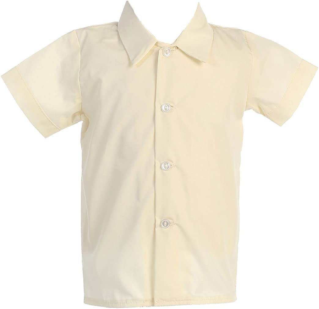 Lito Baby Boys Short Sleeved Simple Dress Shirt White or Ivory Infant to Toddler