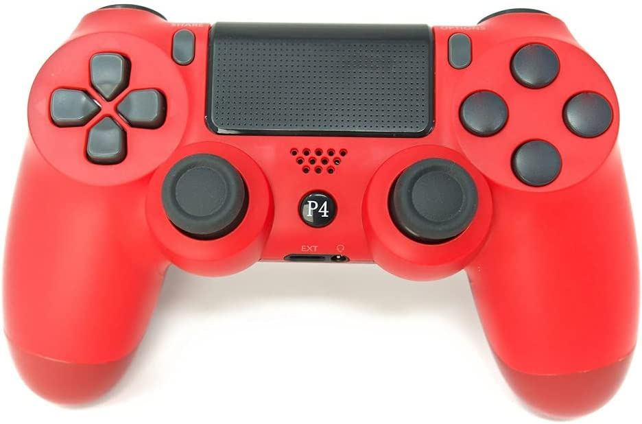 PS4 컨트롤러 CHASDI V2 무선 블루투스 USB 케이블 호환  플레이 스테이션 4 윈도우 PC 및 안드로이드(레드)