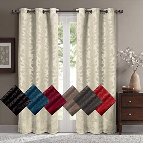 Pair of Two Top Grommet Contemporary Virginia Blackout Weave Thermal Insulated Curtain Panels, Triple-Pass Yarn Back Layer, Set of Two Grey 37 W by 108 L Panels 74 W by 108 L Pair