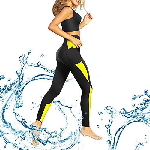 CtriLady Neoprene Wetsuit Long Pants Diving Suit Snorkeling Surfing Swimming CanoeingLeggings for Women (Black-Yellow, X-Large)
