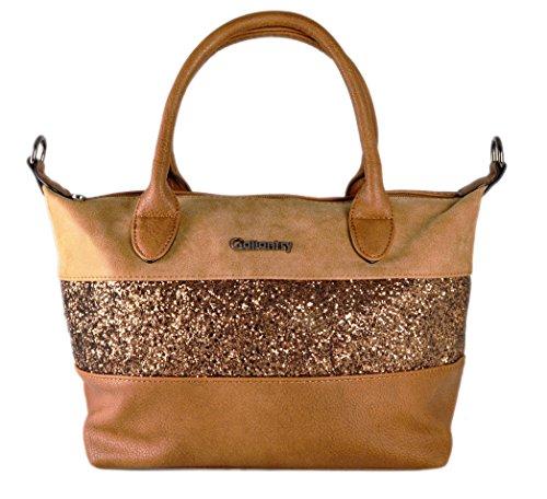 gallantry-sac de mano con purpurina/saco de Ville tamaño mediano compatible con iPad air marrón claro
