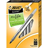 BIC GSM36WM-Blk Round Stic Xtra Life Ball Pen, Medium Point (1.0mm), Black, 36-Count