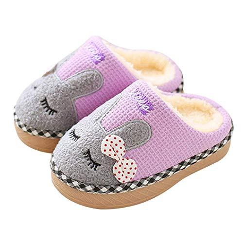 ALPARA Girls Slippers Cute Bunny Fur Lined House Slippers Toddler Little Kid Knit Home Slipper, Light Purple 220