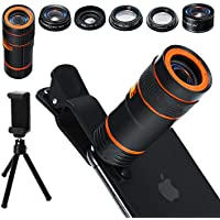 6-in-1 Cell Phone Camera Lens Kit, 12x Telephoto Zoom...