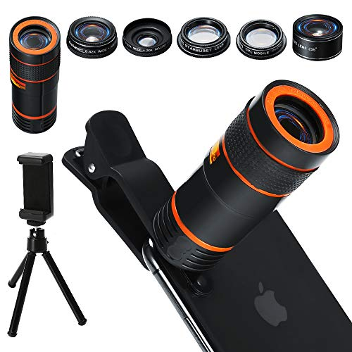 6-in-1 Cell Phone Camera Lens Kit, 12x Telephoto Zoom Lens, 0.62x Wide Angle & 20x Macro, 235