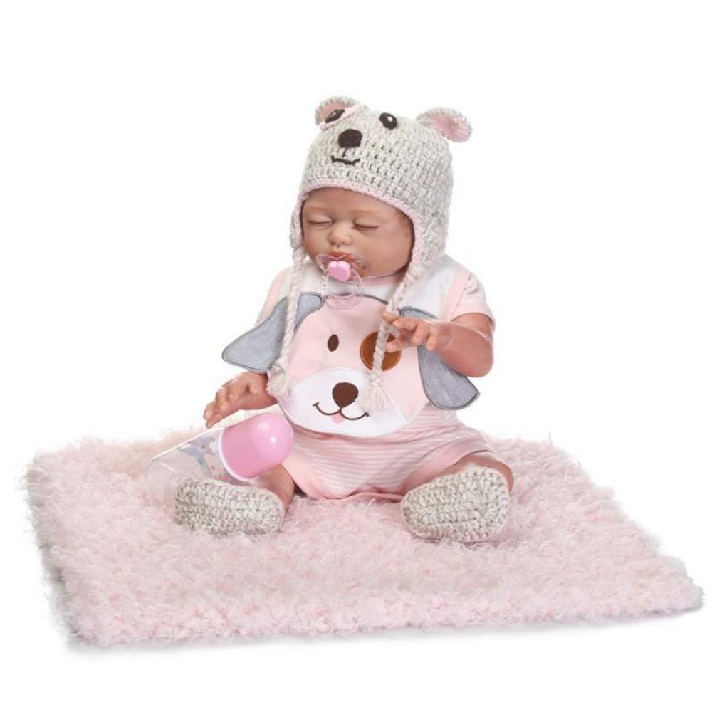 Simulationspuppe Neugeborene Kindergarten Baby Alive Puppe Realistisch Rollenspiel Rollenspiel Kinder Spielzeug Cute Baby Girl Boy Puppe lebensecht mit Kleidung Hut Fütterung Spielzeug Milchflasche Lä Rosa Girl