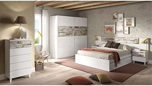 Mobelcenter - Armario Puertas correderas Vintage - Color Blanco y Vintage - Armario Dormitorio Matrimonio - Ancho: 180 cm. x Alto: 200 cm. x Fondo: 61 cm. - 0905: Amazon.es: Hogar