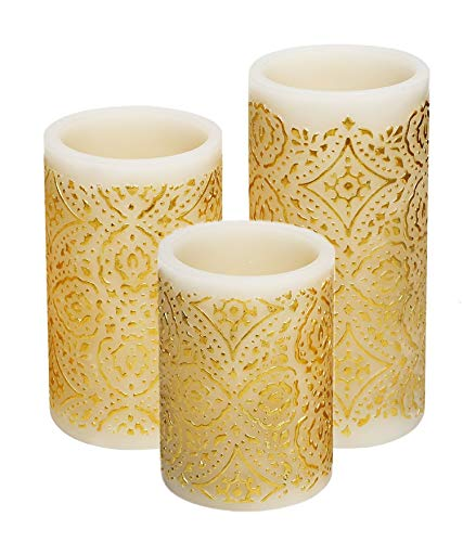 Flameless Led Candles with Timer Battery Operated Real Wax Pillar Candles, Flickering Candle Light Embossed Gold Decorative Pattern Set of 3(3''Dx4'' 5'' 6''H) [No Included Battery] by PRIMROSE