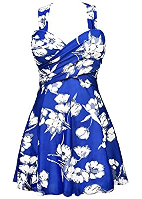 COCOPEAR Women's Elegant Crossover One Piece Swimdress Floral Skirted Swimsuit(FBA)
