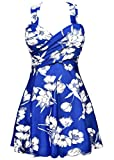 #7: COCOPEAR Women's Elegant Crossover One Piece Swimdress Floral Skirted Swimsuit(FBA)