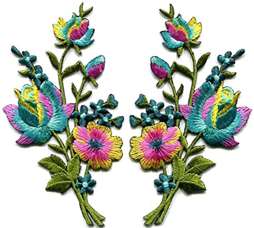 Shalleen Rainbow roses pair flowers floral bouquet appliques iron-on (How Do You Make A Batman Costume)