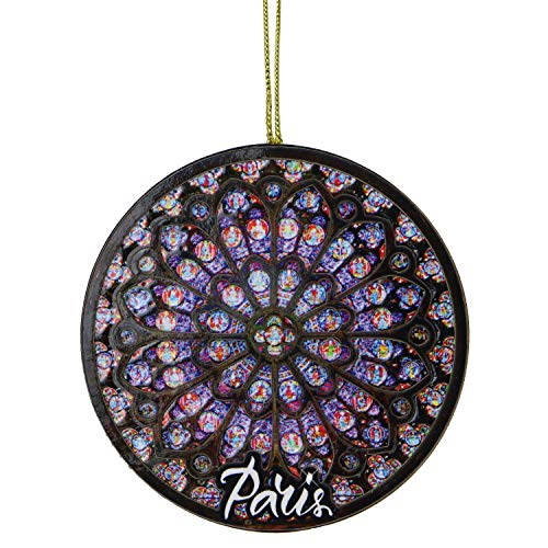 City-Souvenirs Rose Window Christmas Ornament Wooden 3D Paris Notre Dame Design 4 Inches