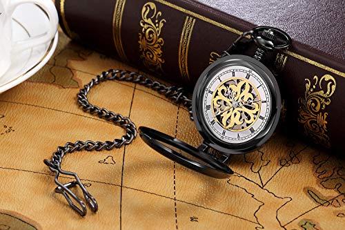 Retroskelett fickor-ur med kedja för män kvinnor, manuell mekanisk steampunk romersk flip-ficka-klocka snidad, svart