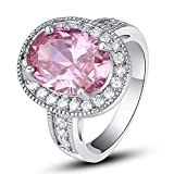 Empsoul 925 Sterling Silver Natural Novelty Created 5.0ct Pink Topaz Halo Engagement Wedding Ring
