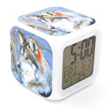 BoFy Led Alarm Clock Wolf Head Animal Pattern Personality Creative Noiseless Multi-Functional Electronic Desk Table Digital Alarm Clock for Unisex Adults Kids Toy Gift