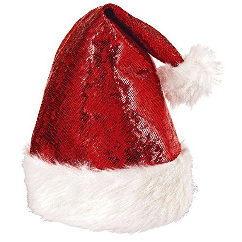 amscan a Christmas Holiday Stocking Stuffer, Red Glitter Santa Hat with White Fauz Fur, Party Supplies and -